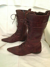 RARE DESIGNER XDYE BROWN LEATHER  MID CALF BOOTS SIZE UK 5 EUR 38