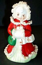Vintage 60's Japanese HAND PAINTED XMAS ornament CAROL SINGER figure winter red