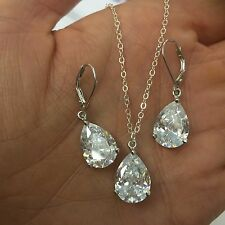 STERLING SILVER AAA CUBIC ZIRCONIA BRIDAL JEWELRY SET HANDMADE DESIGNER GIFT