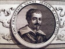 FRANCESCO VANNI SENESE,SIENA,RITRATTO PITTORE ITALIANO,INCISIONE,STAMPA ANTICA