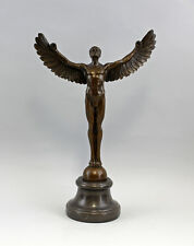 a2-37646 Bronze Plastic Sculpture Icarus with outstretched Wings on base