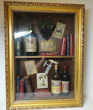 Shadow Box Wine Art Decor Wall Hanging Gold Frame Decorative Wood Books Scene