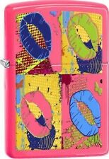 Zippo 29086 multi-colored lips neon pink finish full size Lighter