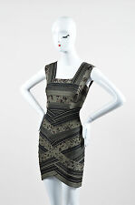 "Herve Leger NWT $2200 Green Black Printed Stripe Bandage ""Mallory"" Dress SZ M"