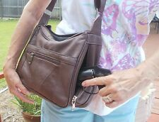 Brown Robland Leather Locking Concealed Carry Gun Pistol Purse with Holster