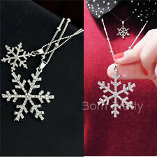 Pendentif Snowflake flocon de neige Necklace Dual Layer Tessel Strass Collier