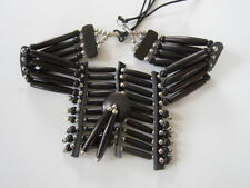 BLACK BREASTPLATE CHOKER BUFFALO BONE JEWELRY NECKLACE   REGALIA TRIBAL