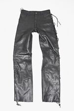 "Vintage Black Leather Lace Up Biker Motorcycle Trousers Pants Jeans Sz W29"" L31"""