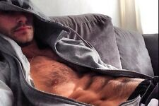 Shirtless Male Muscular Beefcake Hunk Hairy Chest Abs Open Hoodie PHOTO 4X6 C591