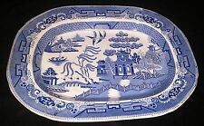 "Beautiful Antique Staffordshire PW&Co Blue Willow Transferware 18"" Meat Platter"