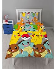 Pokemon Catch Reversible Single Quilt Cover Set - Pikachu, Squirtle, Bulbasaur