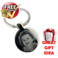 VALENTINES GIFT Personalised Silver round Keyring PHOTO ENGRAVED FREE P&P METAL