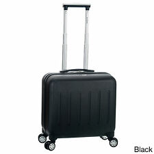 BUSINESS Rolling 15 In LAPTOP CARRY ON Luggage Black Spinner Case Hard Upright