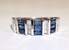 Fine Natural Sapphire and Diamond 14K White Gold Ring Band Size 5
