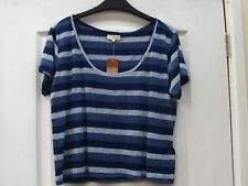 NEW LOOK BLUE MIX COLOURBLOCK MULTI STRIPE SCOOPNECK CROPPED SUMMER T-SHIRT TOP