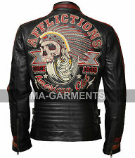 Motor Club Black Biker Cowhide Leather Jacket with 3D Apache Embroidery