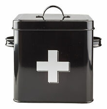 Vintage / Retro Style Metal First Aid Tin Box - Black With Silver Cross NEW
