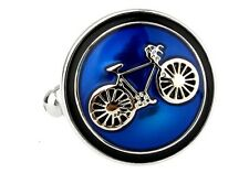 Bike Bicycle Cycling Cyclists Blue Cufflinks Groom Fancy Gift Box Free Ship USA