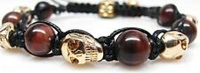 Men's Womens Crystal Agate Beaded Shamballa Gold Skull Bracelet NEW