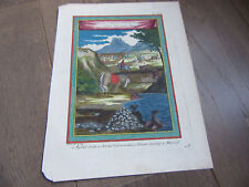 GRAVURE 17° SIECLE ART DE TUER LES TAUREAUX AU CHILI