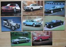 BENTLEY & ROLLS ROYCE Set of 8 1990s UK Mkt Official Postcards - Brochure Queste