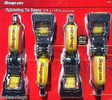 "Snap-On Extra Heavy Duty 1-1/2"" Ratchet Tie Down Straps Quick Release 4 Piece"