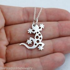 Gecko Necklace - 925 Sterling Silver - Gecko Pendant Lizard Pet Jewelry NEW Spot