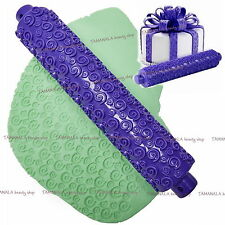 Cake Decorating Spiral Rolling Pin Gum Paste Mold Tools Sugarcraft Embossed