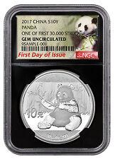 2017 China 10Y 30g Silver Panda NGC GEM BU FDI First 30k Struck Lbl Blk SKU45026