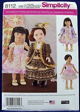 """Simplicity 18"""" Doll Clothes Sewing Pattern American Girl Dress Jacket Skirt 8112"""
