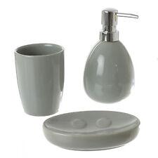 Set accessoires salle de bain céramique  Gris   Distributeur Porte savon Gobelet