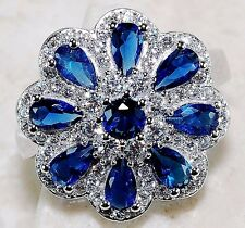 5CT Blue Sapphire & White Topaz 925 Solid Genuine Sterling Silver Ring Sz 7