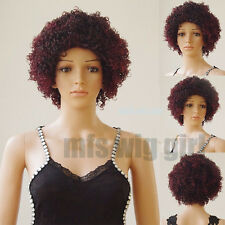 US Ship Lace Front Wig Afro Kinky Curly Synthetic Full Wigs Bob Short Wavy #aa1