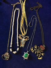 Lot of 5 beaded,Pearl,Crystal,Rhinestone Chain necklaces, mixed materials