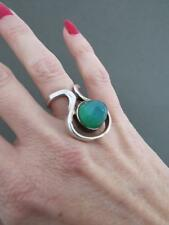 Vintage Silver Green Agate Modernist Ring Mid Century