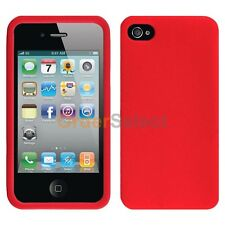 Silicone Soft Slim Rubber Gel Case Cover Skin for Apple iPhone 4 4G 4S Red
