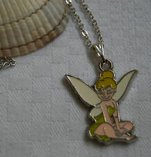 Kids childrens girls necklace fairy Tinker Bell Disney silver plated