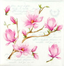 4x Single Party Paper Napkins for Decoupage Decopatch Craft Magnolia Blossom