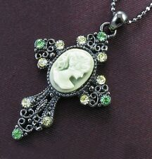 Antique Vintage Style Green Rhinestone Designer Cameo Cross Necklace Pendant