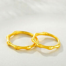 1pcs Authentic 24k Yellow Gold Ring Charm Bamboo Ring Band Size 7 (1.1-1.2g)