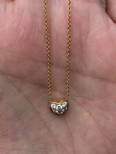 Tiffany & Co. Diamond Heart 18k Yellow Gold Pendant & Chain Necklace  16""