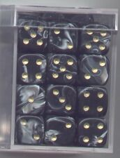 NEW Dice Cube Set of 36 D6 (12mm) - Marble Black