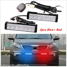 Car Front Grille Blue&Red Warning Emergency Beacon Light  Strobe Flash 6LED Lamp
