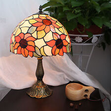 Classic Tiffany Style Stained Glass Handcrafted SunflowerTable Lamp 12 inch