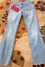 EXPRESS~WOMANS W11 LIGHT BLUE SLIM FLARE~LOW RISE~ DENIM JEANS ~ SIZE 26/34 ~NEW