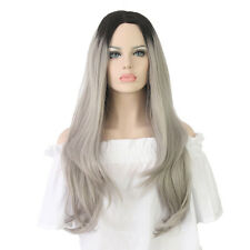 Women's Wigs Grey Synthetic Cosplay Wig Long Wavy Ombre Silver Gray Full Hair