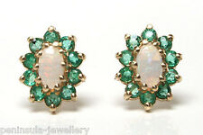 9ct Gold Opal and Emerald Stud Earrings Gift boxed Made in UK