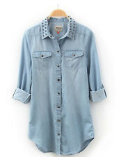 HOT Womens Retro long sleeve blue jean denim shirt tops blouse Rivet Sdq