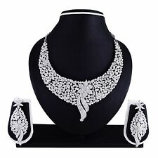New Indian Bollywood Fashion Silver Plated Diamond Necklace Earrings jewelry set