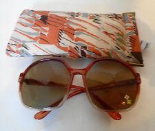 Vintage Large Sunglasses Japan Hand Painted Flowers Rhinestone Centers